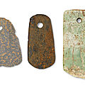 Three hardstone axes, southeast china, 4th-3rd millennium bc