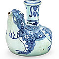 A blue and white 'toad' kendi, ming dynasty, 16th-17th century