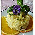 Risotto crémeux à l'orange et au fenouil, pavé de saumon huile d'olive et épices du trappeur....