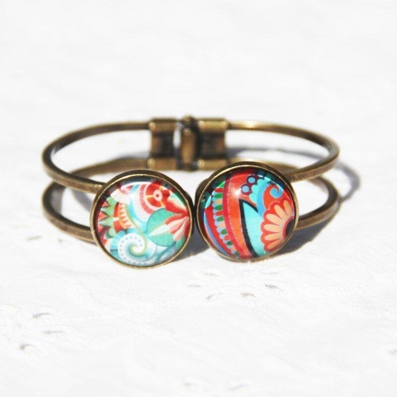 zoe 24 bracelet double cabochon bronze fleurs exotiques vertes rouges bijoux colorés louise indigo (2)