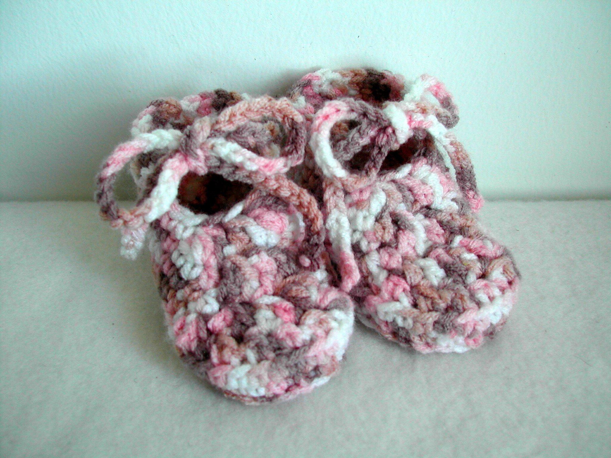 chaussons crochet 0-3 mois
