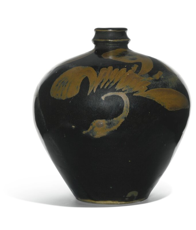 A black-glazed and russet-painted bottle, Northern Song-Jin dynasty