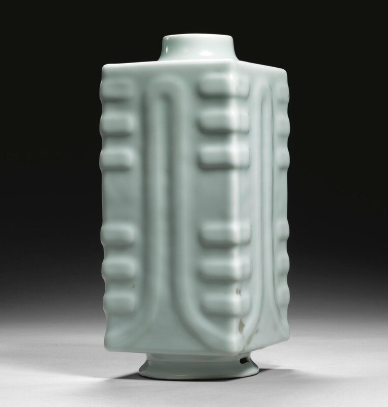 A rare Ru-type vase, cong, Qianlong seal mark and period (1736-1795)