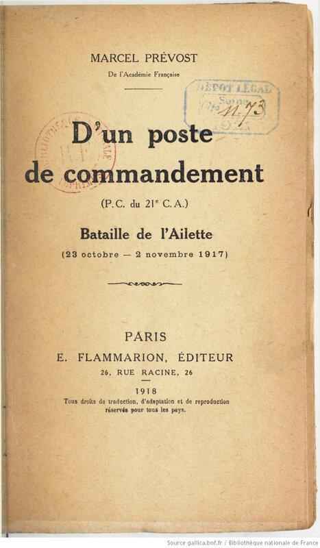 1918 02 10 D'un poste de commandement Prévost Marcel nov 17