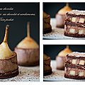 Gâteau au chocolat, mousse chocolat-cardamome et poire pochée