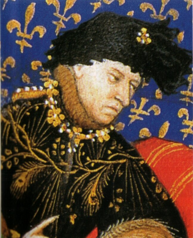 Charles VI, roi de France. Maître de Boucicaut, Demandes à Charles VI, f° 4, Pierre Salomon conversant avec le roi Charles VI (détail), 1412, Bibliothèque de Genève.