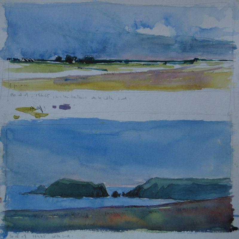 Ouessant 9 et 10, 2009, aquarelle , 10 x 25 cm, 200 euros chaque