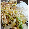 Wok de chou chinois et poulet