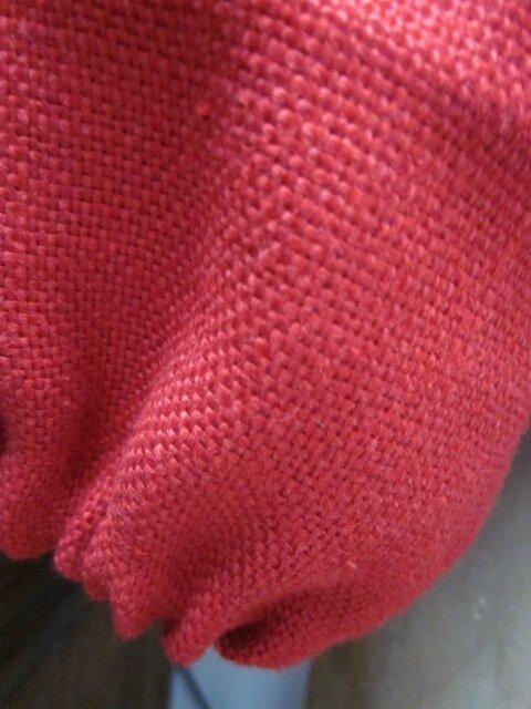 Veste Blanche en lin rouge à manches raglan et large col (5)