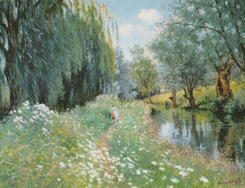 Maurice Lemaître Promenade à Arleux (Nord) Huile sur toile 46x61cm