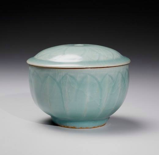 A Longquan Celadon Lotus Bowl and Cover