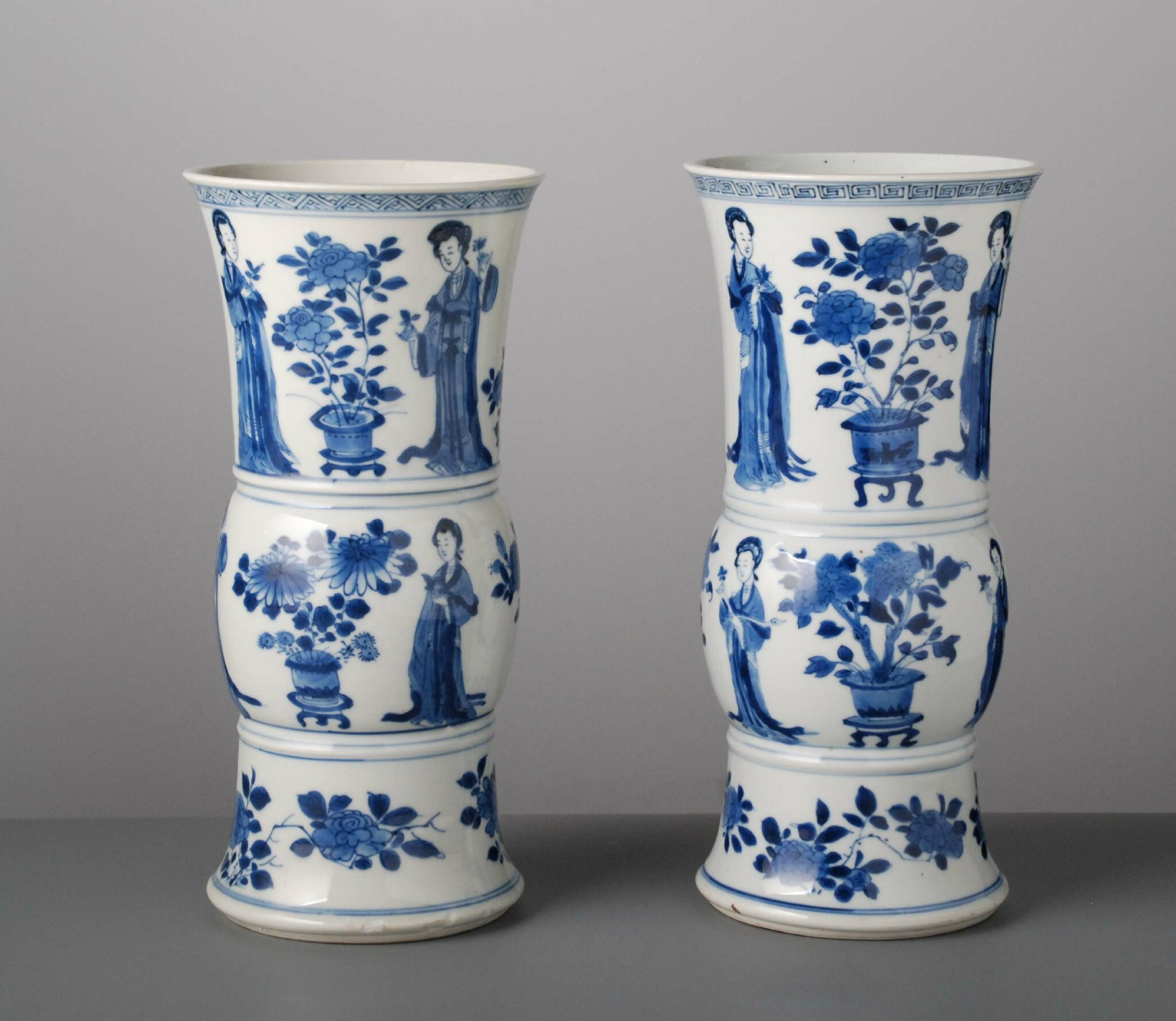 Pair of vases with long elizas, China, Kangxi Period (1662-1722). Photo courtesy Vanderven Oriental Art.