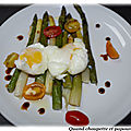 Salade d'asperges vertes et blanches et son oeuf poche