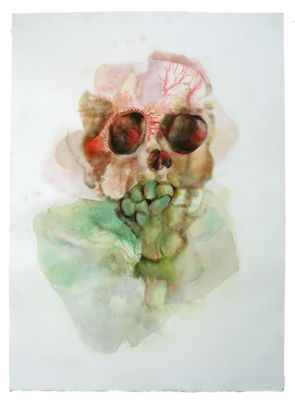 Caroline Fontaine-Riquier, sourire, gouron, pastel, encre sur papier, 70 x 98cm