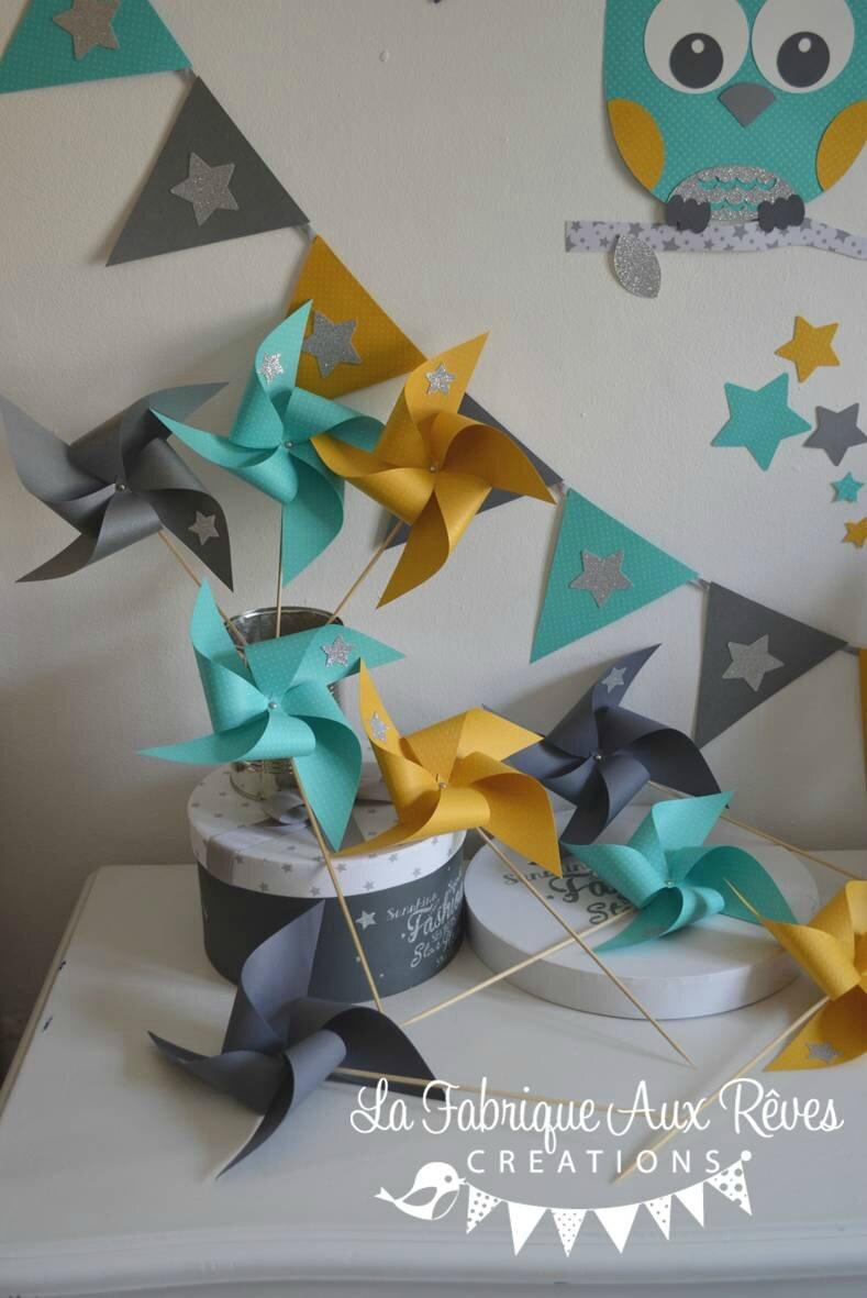 moulins à vent jaune moutarde turquoise caraïbe gris argenté - décoration chambre enfant bébé hibou étoiles turquoise caraïbe jaune moutarde gris argent