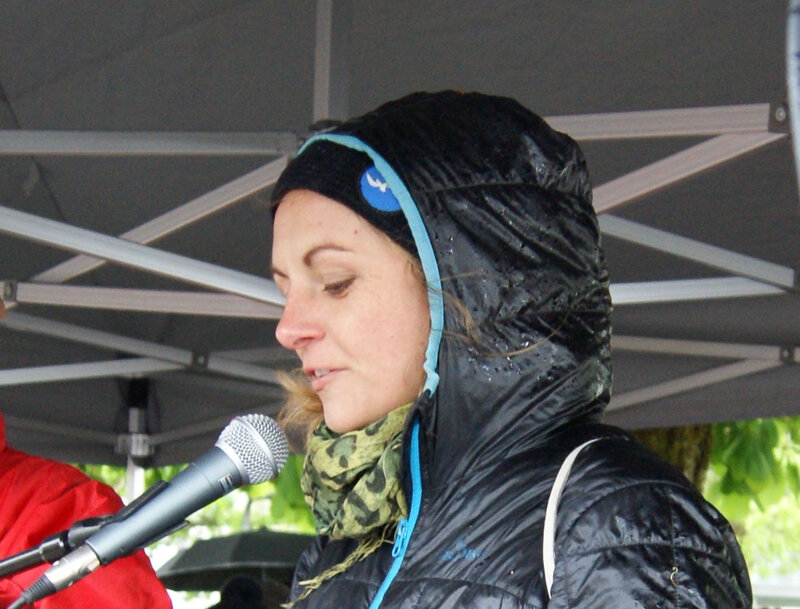 Pia Klemp as a speaker at the 19th Sunday demonstration in Vorarlberg