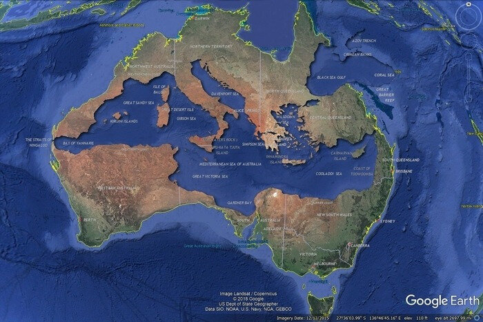 australie-The Mediterranean Sea perfectly fits inside Australia