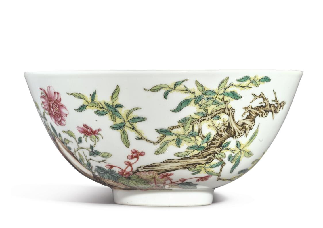 A famille-rose 'Floral' bowl, the porcelain Yongzheng mark