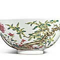 A famille-rose 'floral' bowl, the porcelain yongzheng mark and period (1723-1735), the enamels later-added