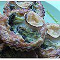 Tartelettes brocolis/courgette/chèvre