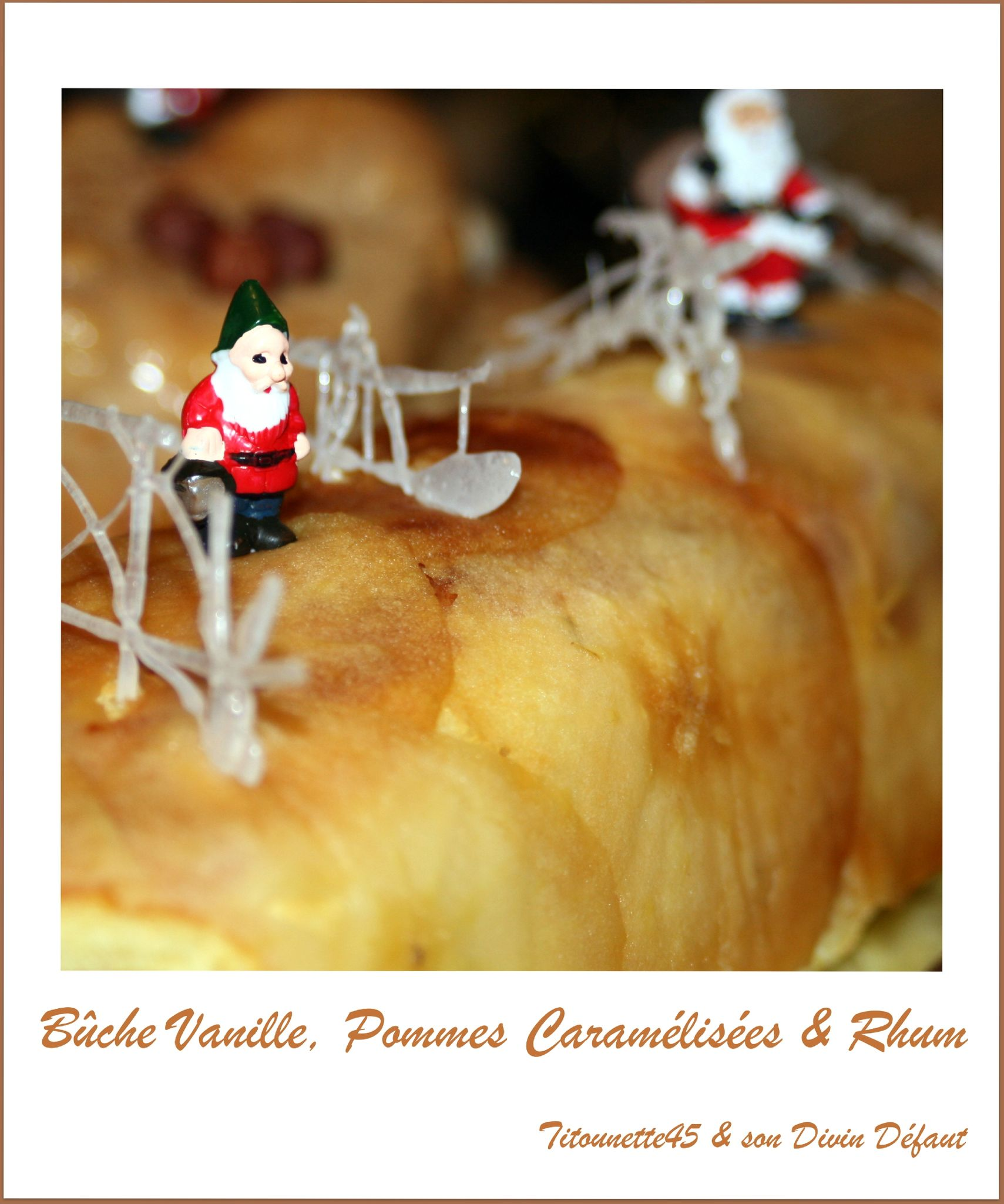 Bûche vanille et pommes caramélisées