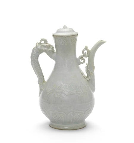 A rare Qingbai ewer and a cover, Yuan Dynasty