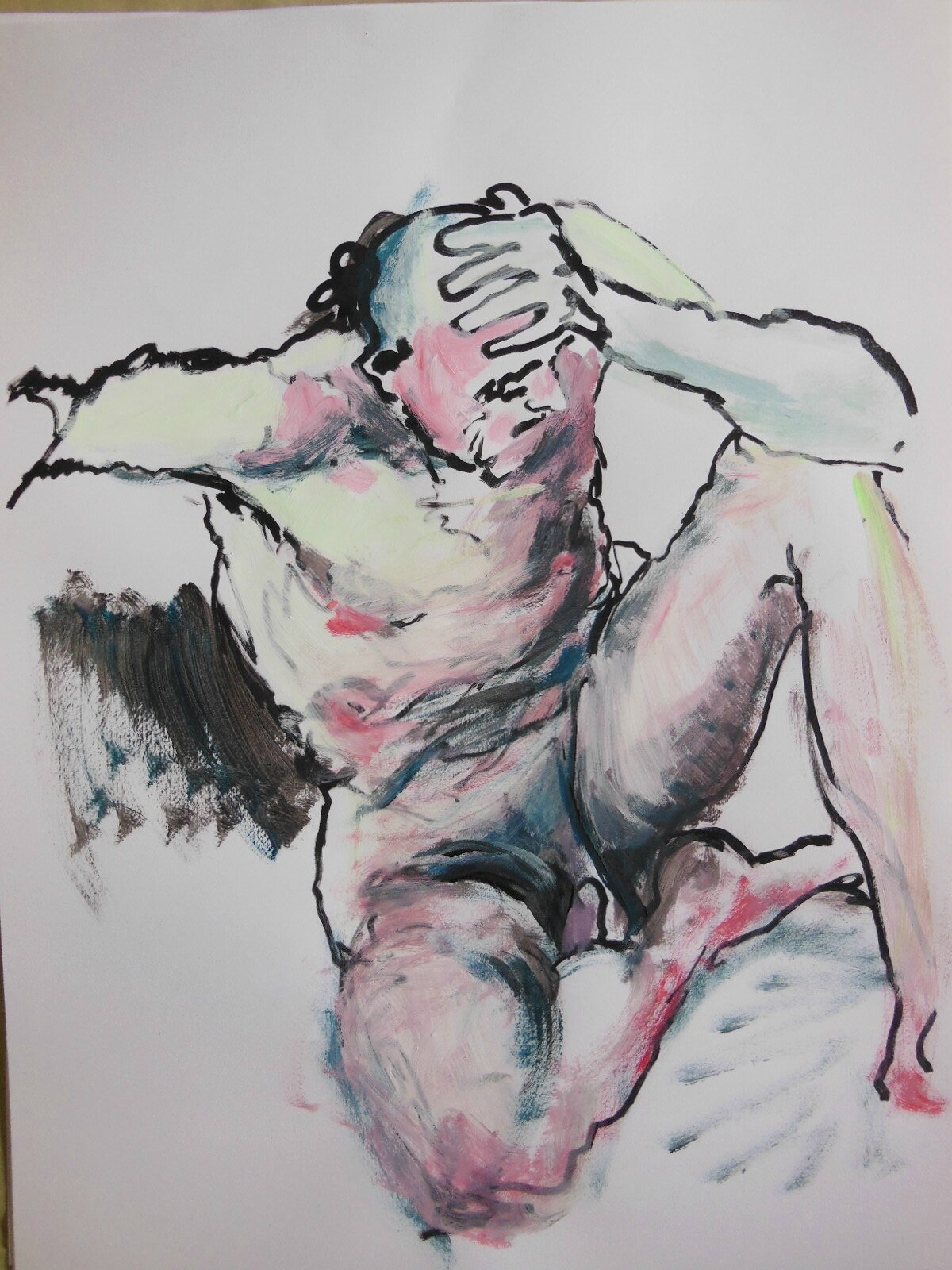 dessin peinture tableau de nu homme modèle vivant (16)