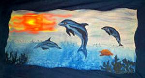 dauphins peintes sur voile de coton 180X70