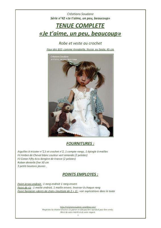 QUARANTE DEUXIEME SÉRIE JE T'AIME UN PEU BEAUCOUP, tenue pour BJD 45 cm Annabella, Nyssa, Kaye Wiggs