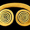 Pendentif en spirale latérale divergente, sinu, colombie, 400-900 après jc