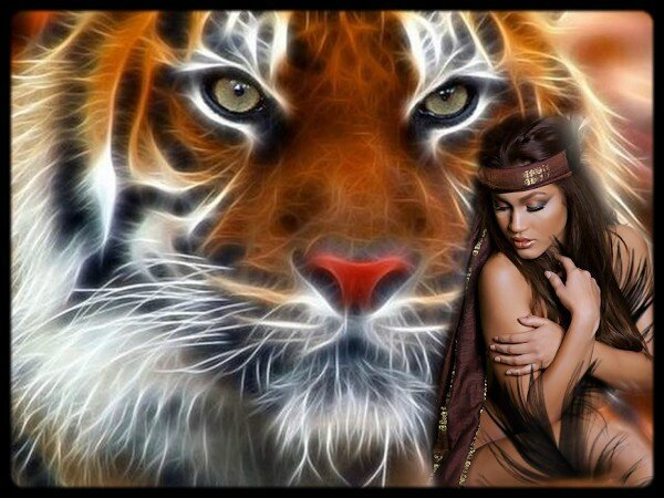 lion et indienne