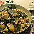 Salade de volaille froide, dinde ou poulet, mangue et épinards