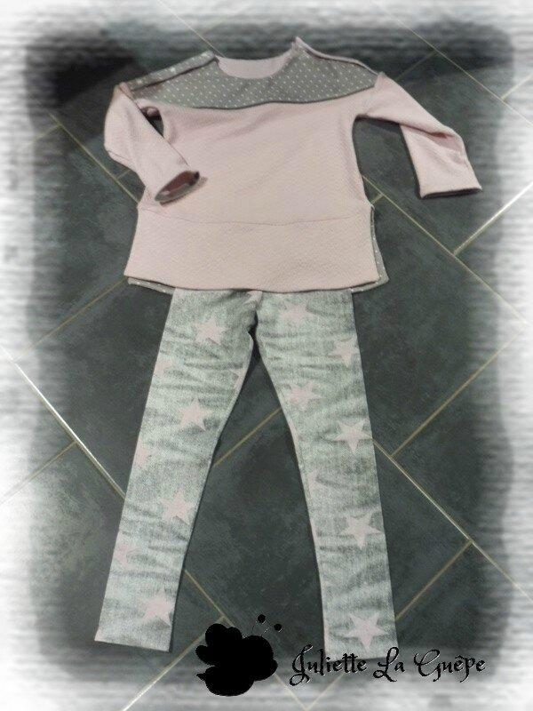 Chatouilleuse legging gris rose étoiles